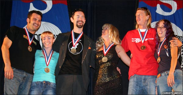 Freestyle medalists Dragons (silver), Team Flew Id (gold), Suicide Transition (bronze)