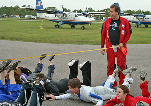 Tom Jenkins measures the second radius of the formation