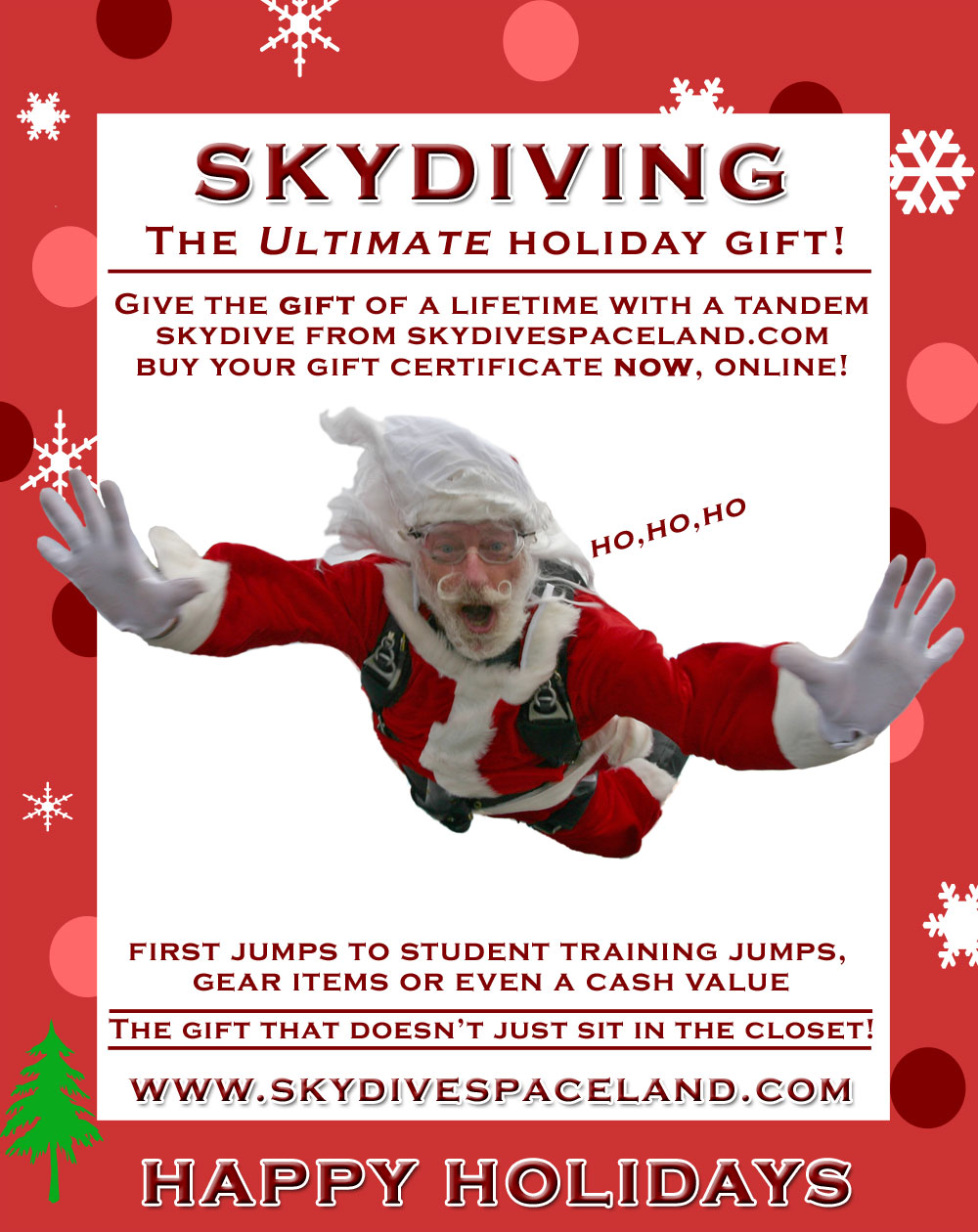 Skydive Spaceland Holiday Flyer
